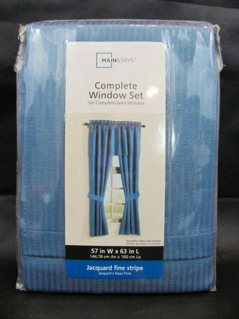 mainstays 5 piece complete curtain set 57x63 in navy blue jacquard fine stripe