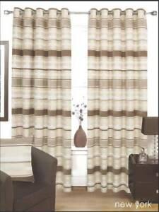 details sur beige creme marron epais lin lourd double oeillet rideaux 8 tailles