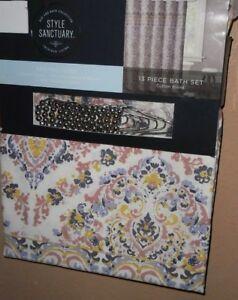 details about style sanctuary 13pc fabric shower curtain hooks set new 72 x 72 cotton blend