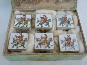 Rare Set of Six Antique Chinese Famille Rose Hand Painted Porcelain Boxes.