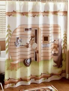 details about woodsy retro happy camper fabric shower curtain bathroom bear moose raccoon