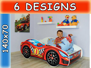 Image Is Loading Childrens Bed Toddler Kids With Mattress Racing Car