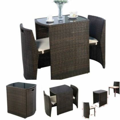 3pcs Patio Set Bistro Table Cushion Chairs Outdoor Indoor Dining     Bistro Table And Chairs Set Patio Outdoor Indoor Bar Dining Garden Stools  Small