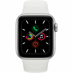 Apple Watch Series 5 40mm Silver Alluminum Case White Sport Band MWV62LL/A NEW