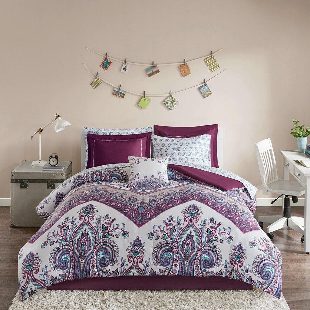 purple boho damask elephant girls twin comforter sheet set 7 pc bed in a bag