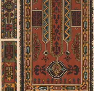 details sur 1900 lithographie art nouveau motifs de tissus coptes tapis chretiens d egypte