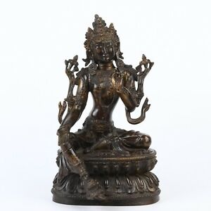Antique Chinese Gilt Bronze Guanyin Statue
