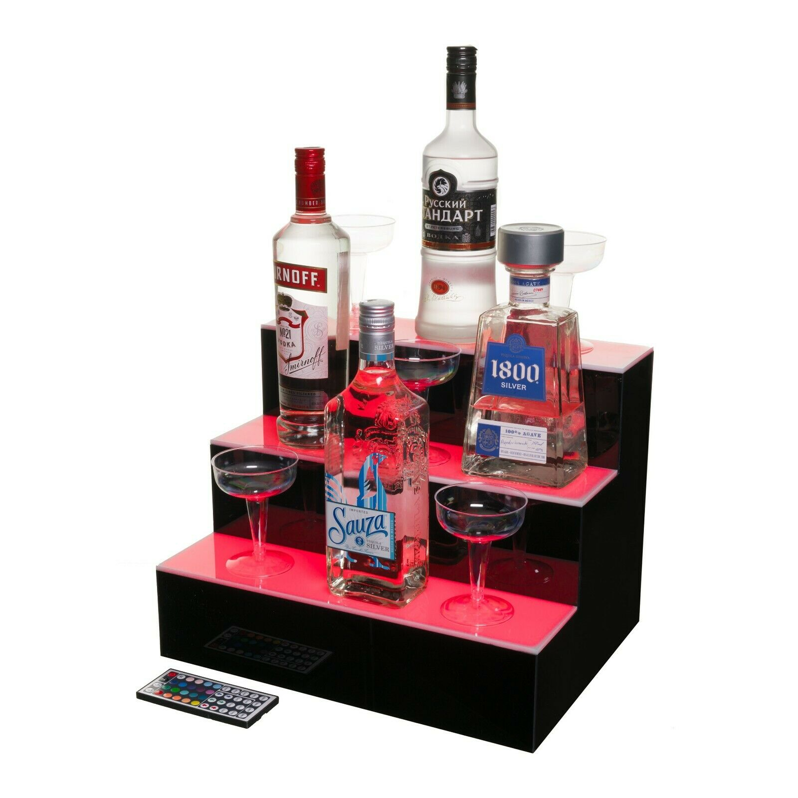 Led Lighted Liquor Bottle Display Illuminated Bottle Shelf 3 Tier Home Bar Bott