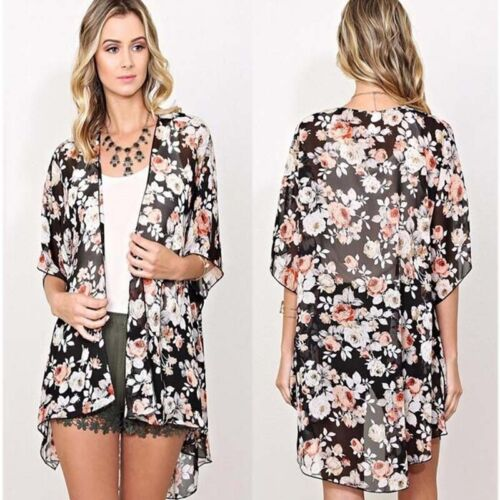 HOT-Loose-Women-Cover-Up-Bikini-Top-Boho-Floral-Dress-Kimono-Cardigan-Long-Coat