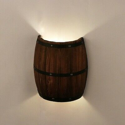 Wall Lamp Wood Country Wine Barrel Wall Lights Sconce Up ... on Wall Sconce Lighting Decor id=17566