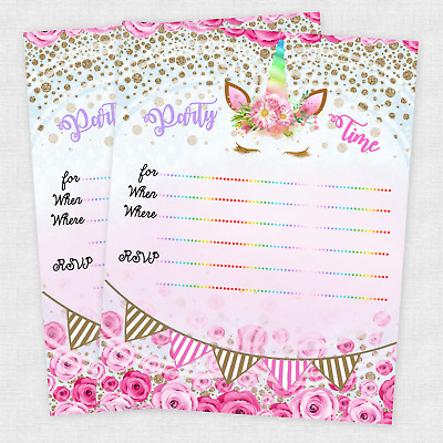 girl birthday invitations unicorn party invites slumber party qty 20 favors ebay