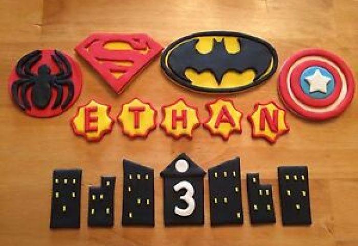 Custom Fondant 3d Cake Topper Set Superhero Symbols Buildings