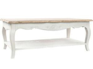 Tavolo rotondo in legno diametro cm 100 4 sedie in ferro e legno porta vivande. Tavolino Legno Bianco Provenzale Francese Decapato Shabby Chic Cm 120x70h45 Ebay