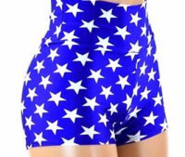 Image Is Loading Wonder Woman Inspired Blue Star High Waist Spandex