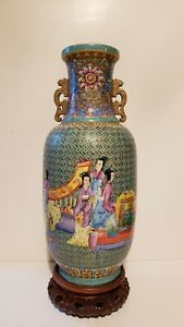 Large Antique Famille Rose Chinese Republic period rouleau yangcai vase & stand