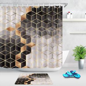 details about black gold geometric checkered blocks fabric shower curtain set bathroom decor