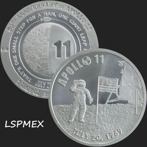 2019 Apollo 11 50th Anniversary 1 oz .999 Silver BU Round ...
