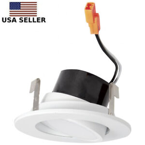 details about white 3 inch round led adjustable gimbal insert recessed lighting trim 3 cct