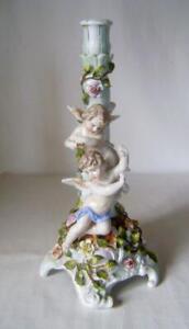 Large Victorian Sitzendorf Porcelain Candlestick with Cherubs C.1890 Table Lamp