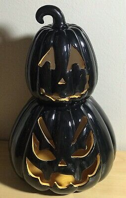 Spooky Ceramic Jack O Lantern Pumpkin Candle Holder By ... on Decorative Wall Sconces Candle Holders Centerpieces Ebay id=83839
