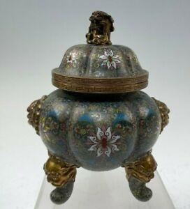 Antique Chinese Cloisonne Lobed Tripod Cauldron Type Censer ? Pot