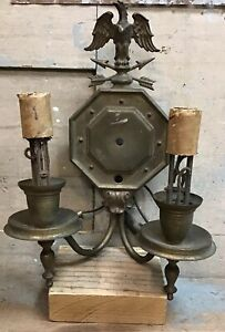 Antique Brass Wall Sconce Light Fixture W/ Eagle — For ... on Wall Sconce Parts id=54303