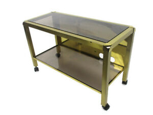 details about vintage design coffee table two tier brass smoked glass glam romeo rega style