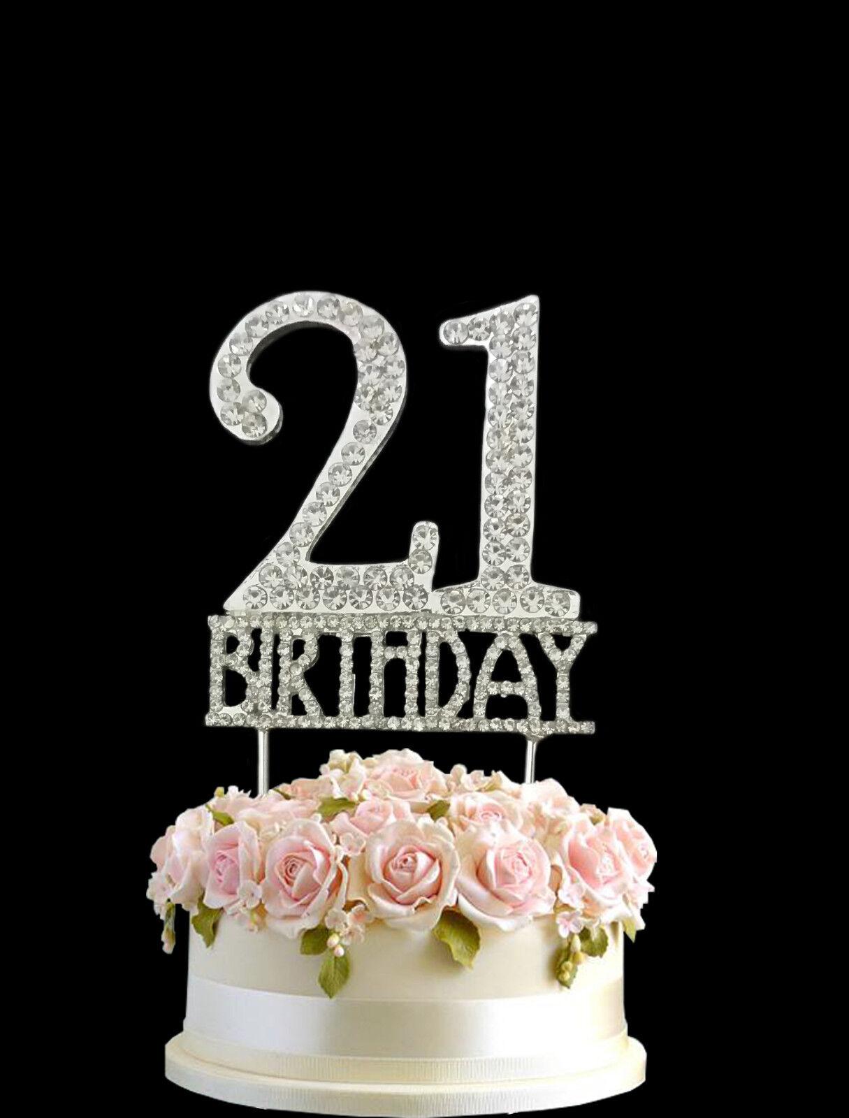 Crystal Monogran Happy 21st Birthday Cake Topper