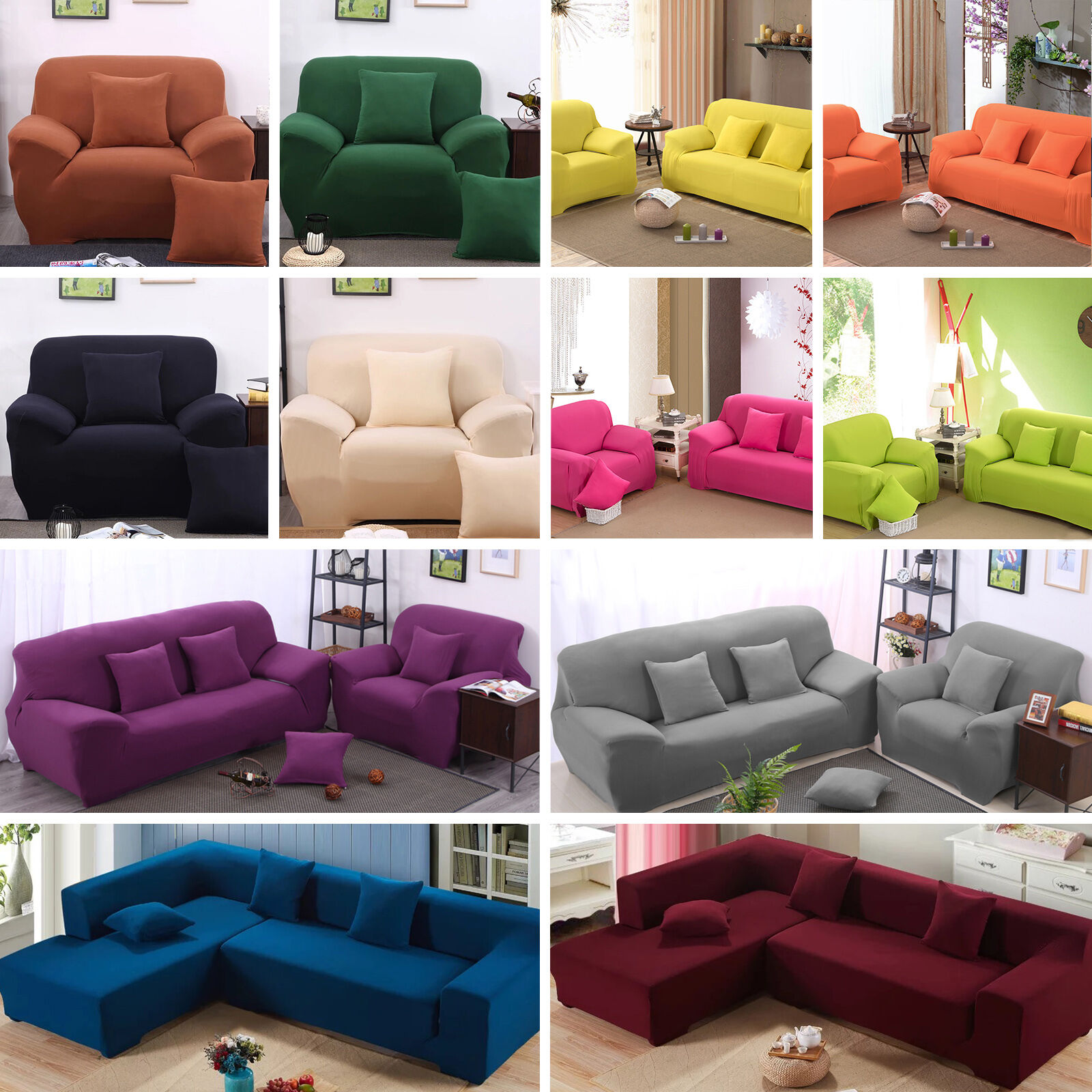 Details About 2018 Hot L Shape Stretch Elastic Fabric Sofa Cover Sectional Corner Couch Covers