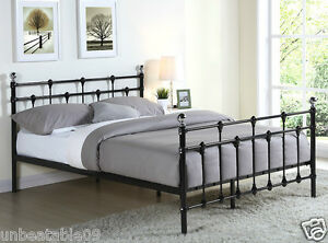 Image Is Loading Black Metal Bed Frame Double King Size With