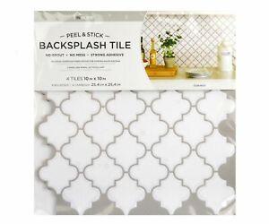 details about quatrefoil backsplash tiles peel stick 4pcs white moroccan wall stickers