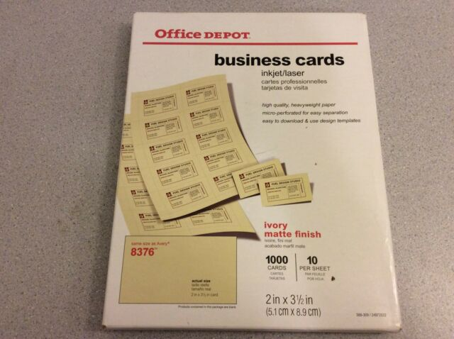 Having your own business card is of the most effective ways to market your business. Business Cards 2 X 3 1 2 Ivory Office Depot 1000 Cards Comp To Avery 8376 For Sale Online Ebay