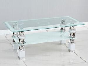 white modern rectangle glass chrome for