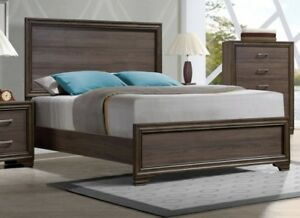 details about low profile footboard 4pc queen size set solid wood headboard bedroom furniture