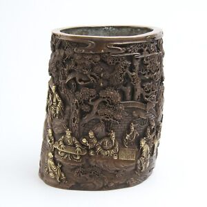 Antique Chinese Gilt Copper Brush Pot with Figures and Landscape