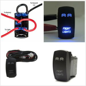 Autos Waterproof Front Light 5pin Blue LED Rocker Switch & Wiring Harness 40amp | eBay