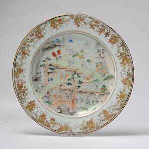 Antique 18th C Chinese Porcelain Fencai Dish China Famille Rose Qianlong Period
