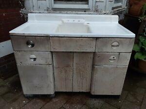 details about vintage 1939 white porcelain 50 with metal cabinet kitchen farm sink art deco