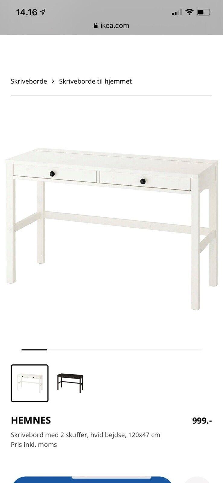 Hemnes Skrivebord Med 2 Skuffer Sortbrun 120x47 Cm Ikea