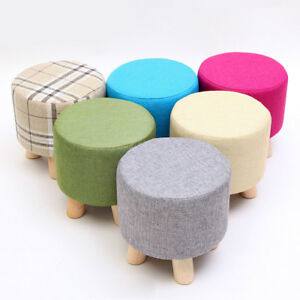 details about round ottoman stool small wooden soft rest chair quadruped pouffe footstool seat