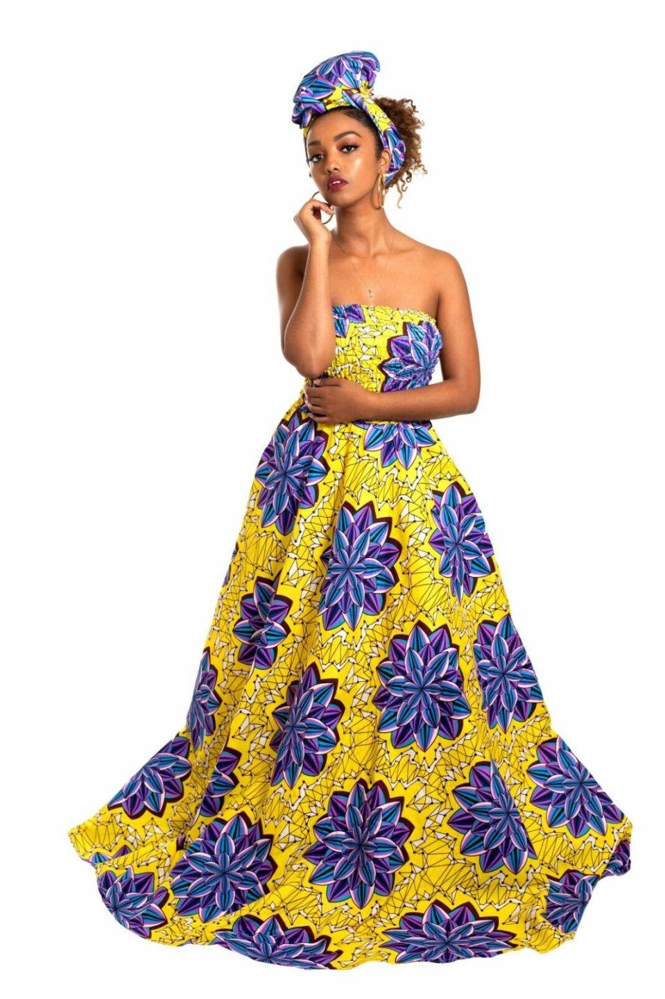 New Women's African Print Ankara Akuyo Maxi Dress 100% Cotton Handmade Floral