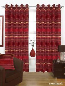 details sur rouge bordeaux lourd epais double oeillet rideaux 3 tailles