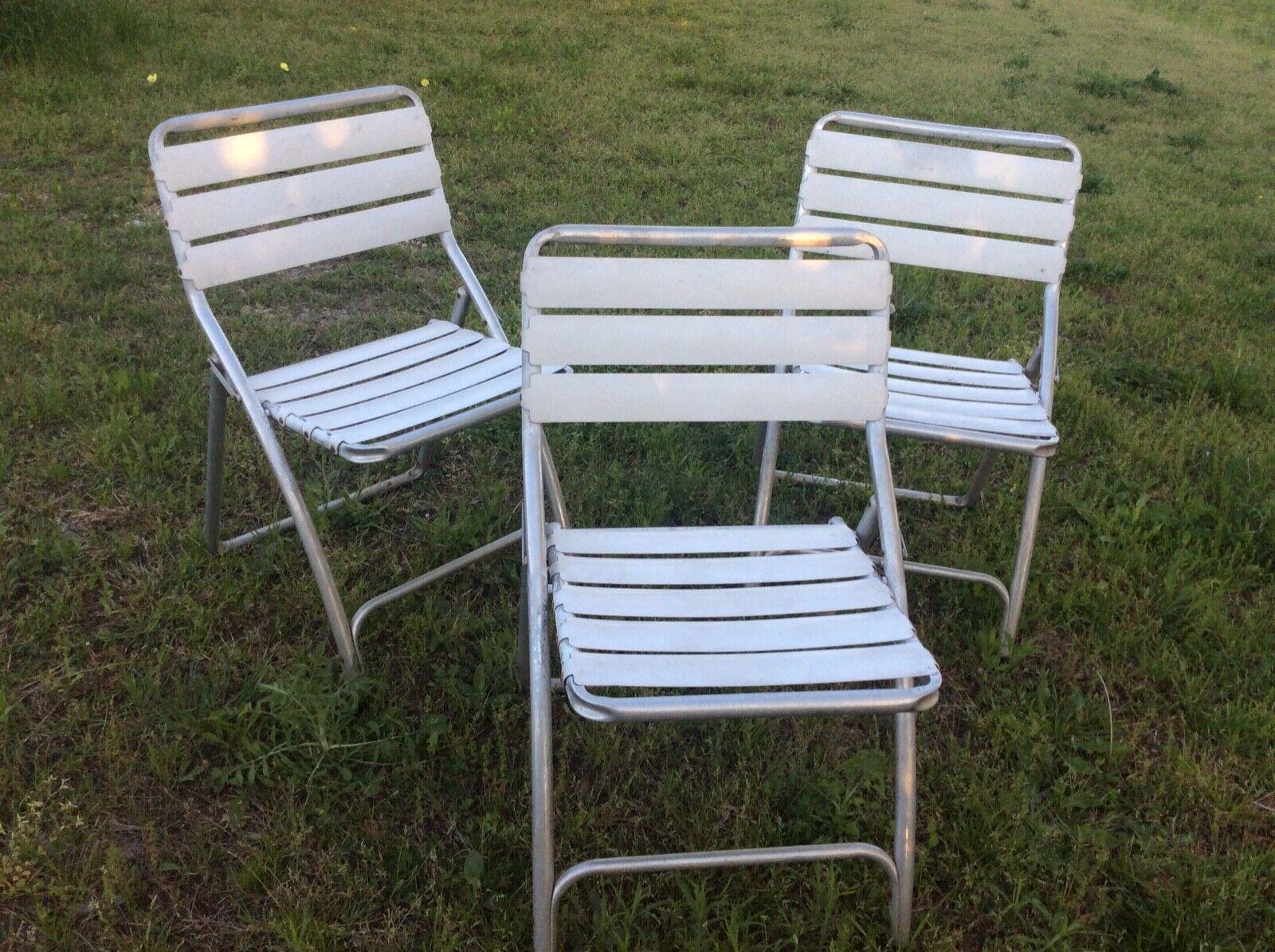 3 Folding Chair Aluminum Lawn Mid Century Modern Metal Vtg Retro Patio