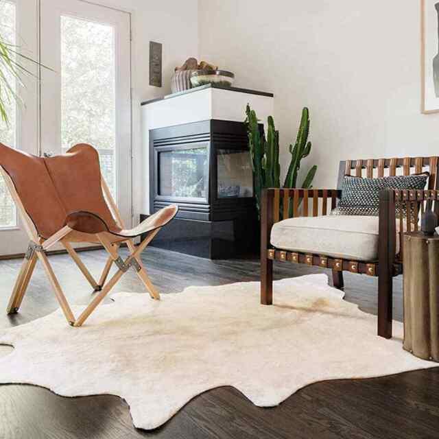 vidaxl tapis en peau de vache veritable beige carpette moquette sol salon