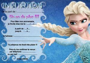 details sur 5 ou 12 cartes invitation anniversaire reine des neiges ref 02 avec sans env