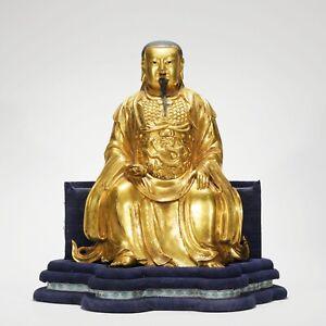 Antique Chinese Gilt Bronze Figure Statue of Jade Emperor