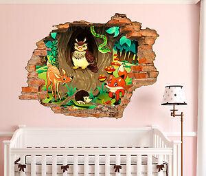 Decora le pareti della cameretta dei bambini con gli stickers murali. Adesivi Murali Bambini Buco Nel Muro 3d Animali In Una Foresta Wall Stickers Ebay