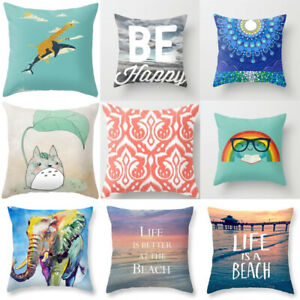 details about throw cute pillow sofa cases cat cover cotton dog linen cushion pillow covers