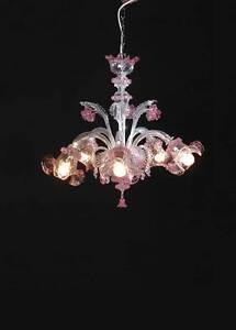 lampadario rezzonico cristallo decorato con foglia argento. Lampadario Vetro Soffiato Di Murano Original Chandelier San Marco 5 L Cri Rosa Ebay