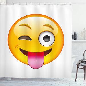 details about emoji shower curtain cartoon romantic smiley print for bathroom